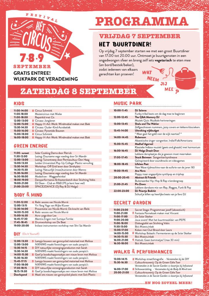 Programma Festival Het Circus 2018 vrijdag en zaterdag